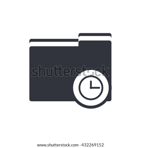 Vector illustration of folder time sign icon on white background.