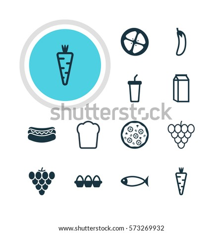 Vector Illustration Of 12 Food Icons. Editable Pack Of Love Apple, Egg Container, Streetfood And Other Elements.