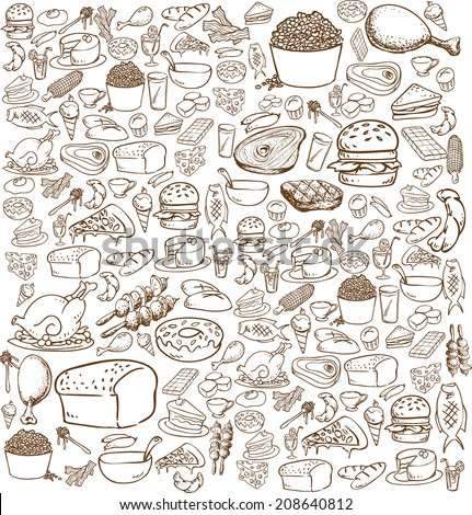 Vector illustration of food in doodle style, brown on white - stock vector