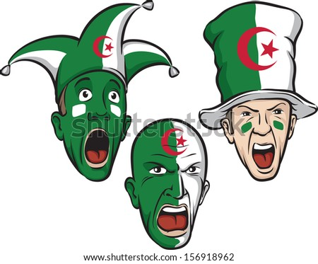 Vector illustration of football fans from Algeria. Easy-edit layered vector EPS10 file scalable to any size without quality loss. High resolution raster JPG file is included.