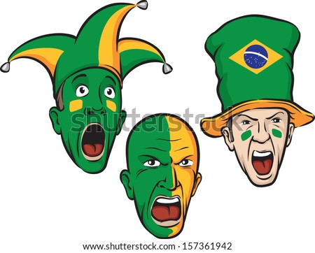 Vector illustration of football fans from Brazil. Easy-edit layered vector EPS10 file scalable to any size without quality loss. High resolution raster JPG file is included. - stock vector