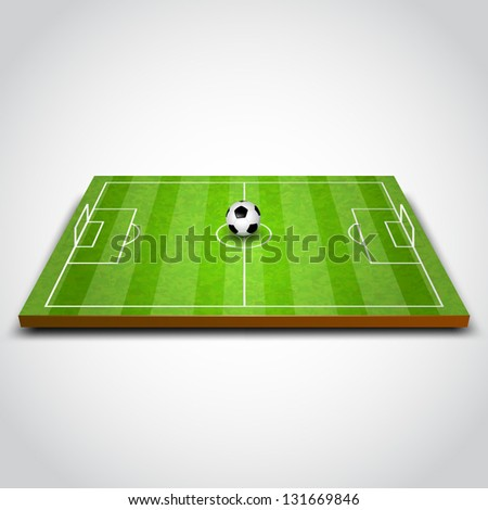 vector illustration of football field with ball. soccer - stock vector