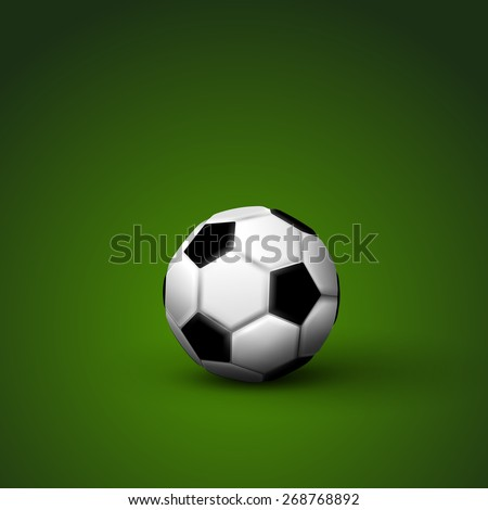 vector illustration of football or soccer ball on the green background - stock vector