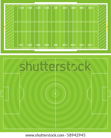 Vector illustration of Football (Soccer) and American Football fields. Accurately proportioned. - stock vector