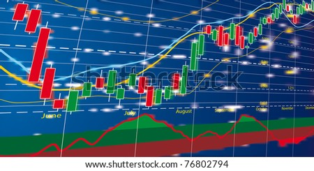 Vector illustration of forex growth candlestick diagram - stock vector