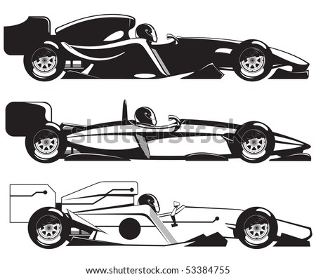 vector illustration of  formula 1. three sports racing car. - stock vector