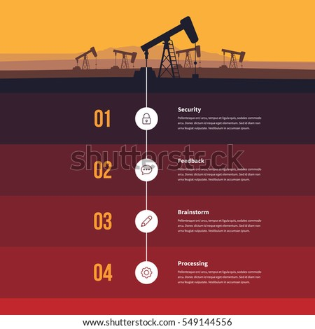 Vector illustration of fossil fuel energy infographic design element.
