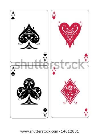 Vector illustration of four aces - stock vector