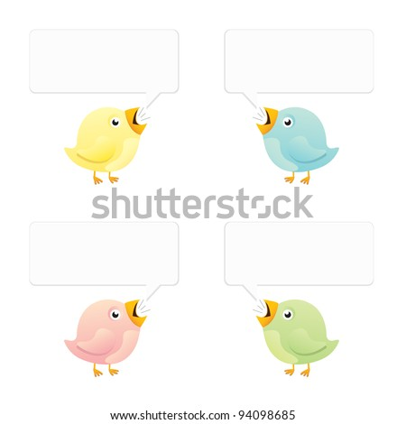 Vector illustration of four birds in different colors with empty speech bubbles. - stock vector
