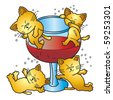 Vector illustration of  four drunken cat. This file has been layered and grouped for easy editing. - stock photo