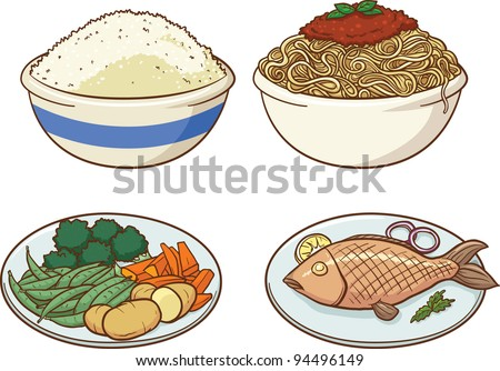 Vector illustration of four healthy meals. Each in a separate layer for easy editing.