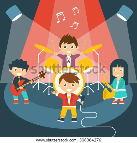 Vector illustration of four kids in a music band - stock vector