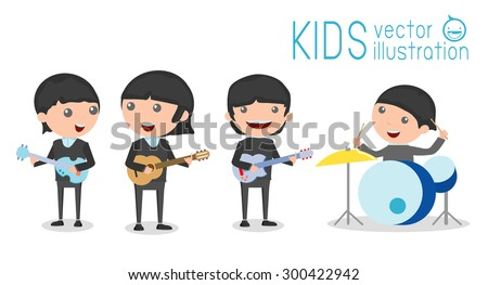 vector illustration of four kids in a music band, Children playing Musical Instruments,illustration of  Kids playing different musical instruments,Vector Illustration - stock vector