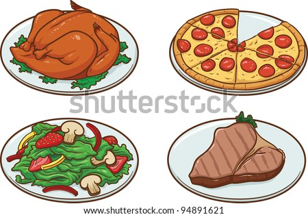 Vector illustration of four meals. Each in a separate layer for easy editing. - stock vector