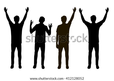 Vector illustration of four men silhouettes with hands up under the white background. Black people silhouette - stock vector