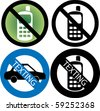 Vector Illustration of four No Cell Phone or texting while driving Signs. - stock vector