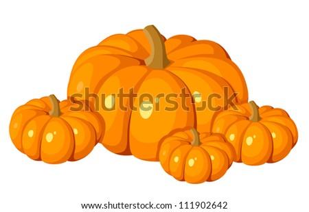 Vector illustration of four orange pumpkins. - stock vector