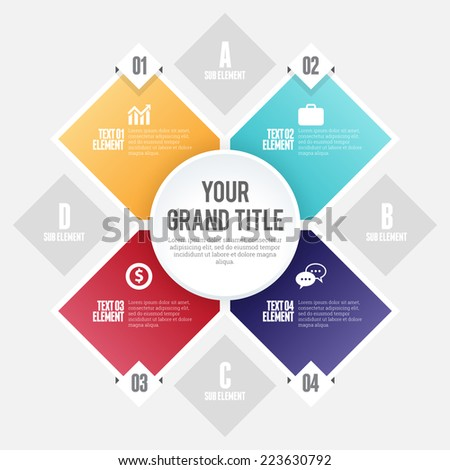 Vector illustration of four shape circle infographic design element. - stock vector