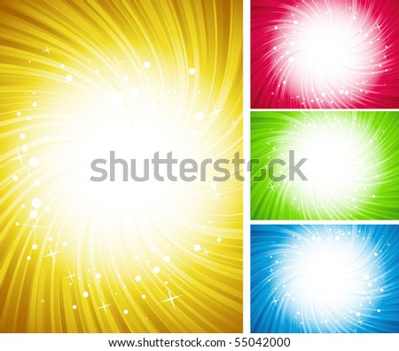 vector illustration of four shining color backgrounds - stock vector