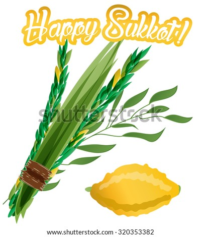 Vector illustration of four species - palm, willow, myrtle , lemon - symbols of Jewish holiday Sukkot (Feast of Tabernacles). Holiday of Sukkot illustration. - stock vector
