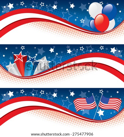 Vector illustration of fourth of july banners. Banners are layered, objects are logically grouped. - stock vector