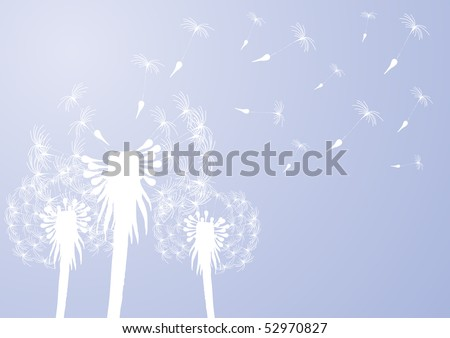 Vector illustration of fragile dandelions on windy day - stock vector
