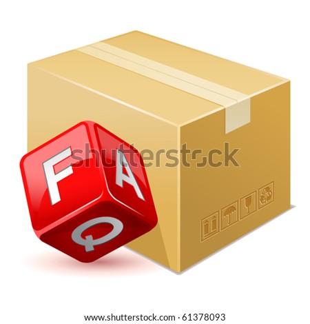 vector illustration of free shipping. FAQ icon - stock vector