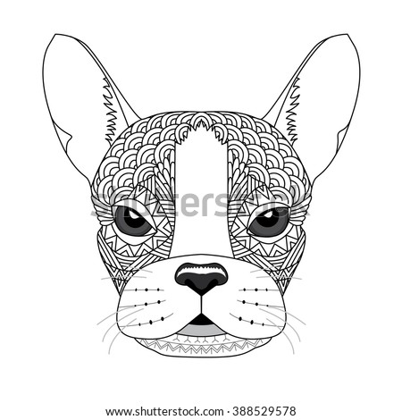 Vector Illustration Of French Bulldog For Coloring Page Tattoo Poster T Shirt