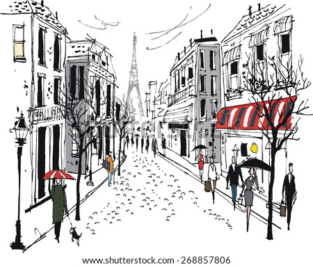 Vector illustration of French city  street scene with buildings, pedestrians and trees.