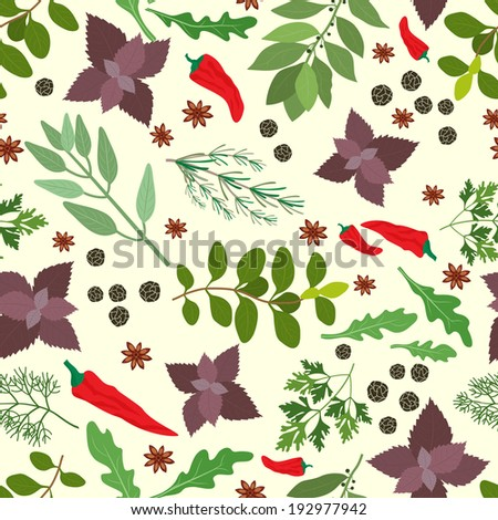 Vector illustration of fresh cooking herbs and spices in a seamless pattern with oregano  parsley  basil  rosemary  rocket  sage  bay   thyme  red hot chili pepper and peppercorns scattered on white - stock vector