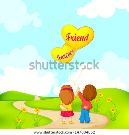 vector illustration of friends forever for Happy Friendship Day - stock vector