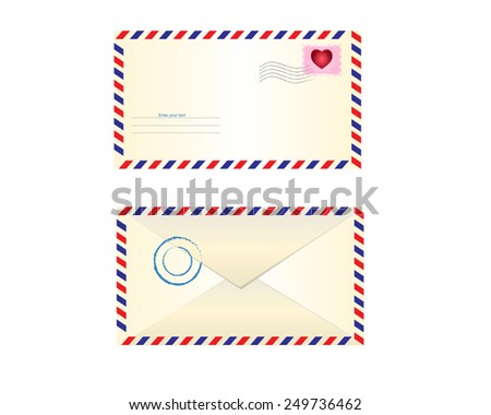 vector illustration of front and back parts of the postal envelope with stamps and stamp printing