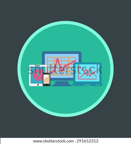 Vector illustration of front end reporting icon, flat round icon. - stock vector