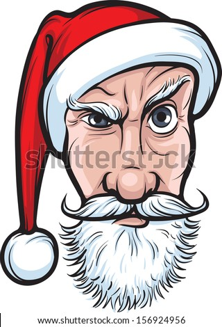 Vector illustration of frowning Santa Claus isolated face. Easy-edit layered vector EPS10 file scalable to any size without quality loss. High resolution raster JPG file is included.  - stock vector