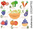 Vector illustration of fruit and vegetables. A, b, c, d, e, f ,g,h letters. Apple, broccoli, carrots,dewberry,eggplant, figs, grapefruit,	 huckleberry. Alphabet design in a colorful style. - stock vector