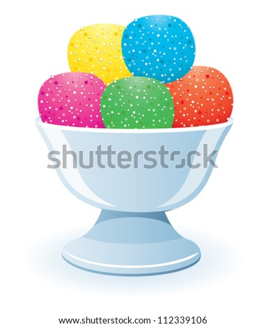 vector illustration of fruit jelly in a glass bowl - stock vector