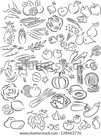 vector illustration of  fruits and vegetables collection in black and white - stock vector