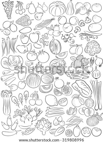 Vector illustration of fruits and vegetables in line art mode - stock vector