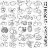 vector illustration of  fruits collection in black and white - stock photo