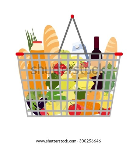 Vector Illustration of Full food basket. All elements are isolated on white background. Grocery bag vector illustration. Grocery basket in flat style.