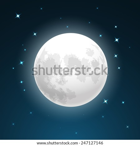 Vector Illustration of full moon close up and around the stars - stock vector