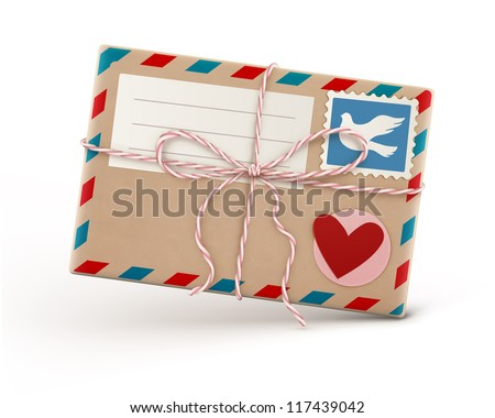 Vector illustration of funky retro airmail envelope with stamp isolated on white background - stock vector