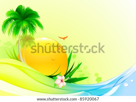 Vector illustration of funky summer  background with palm tree, hibiscus flower and  idyllic sun - stock vector