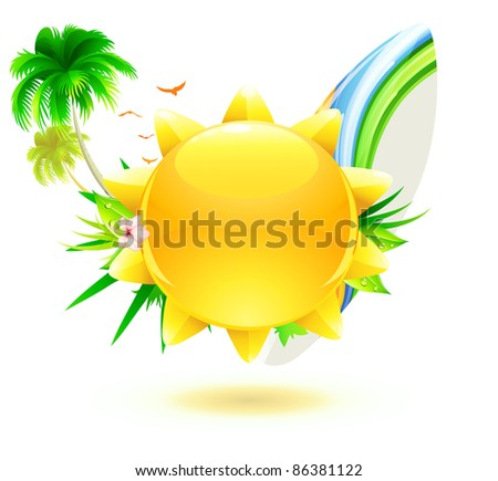 Vector illustration of funky summer background with palm trees, hibiscus flowers, surfboard and yellow sun - stock vector