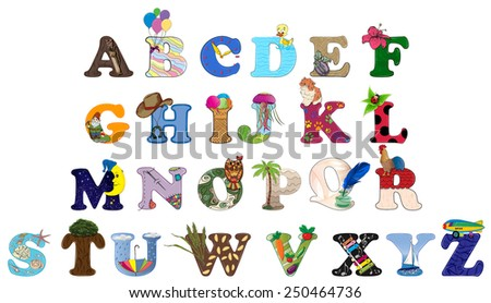 Vector illustration of funny capital letters alphabet for children education. Vector eps10. - stock vector