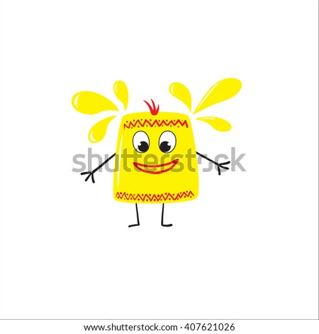 Vector illustration of funny cartoon character with unusual joy idea - stock vector