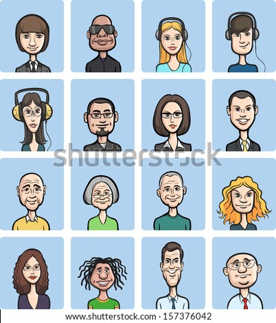 Vector illustration of funny cartoon faces collection. Easy-edit layered vector EPS10 file scalable to any size without quality loss. High resolution raster JPG file is included. - stock vector