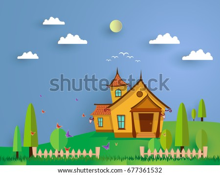 vector illustration of funny cartoon of  house up hill. landscape park