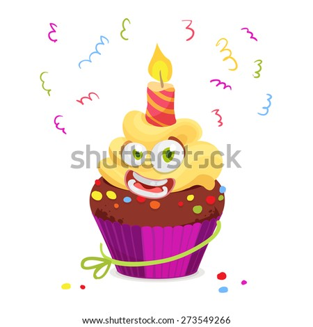 Vector illustration of funny Cupcake Character