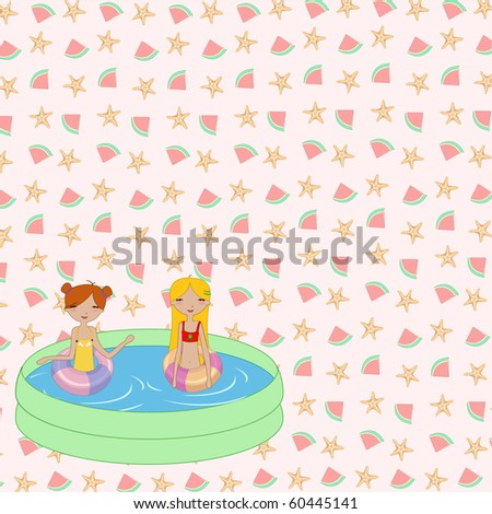 Vector Illustration of funny Kiddie style design summer background with Kids in the swimming pool